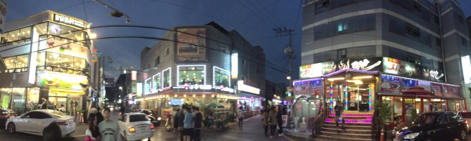 A view of the nightlife in Hwaseong Fortress, Suwon