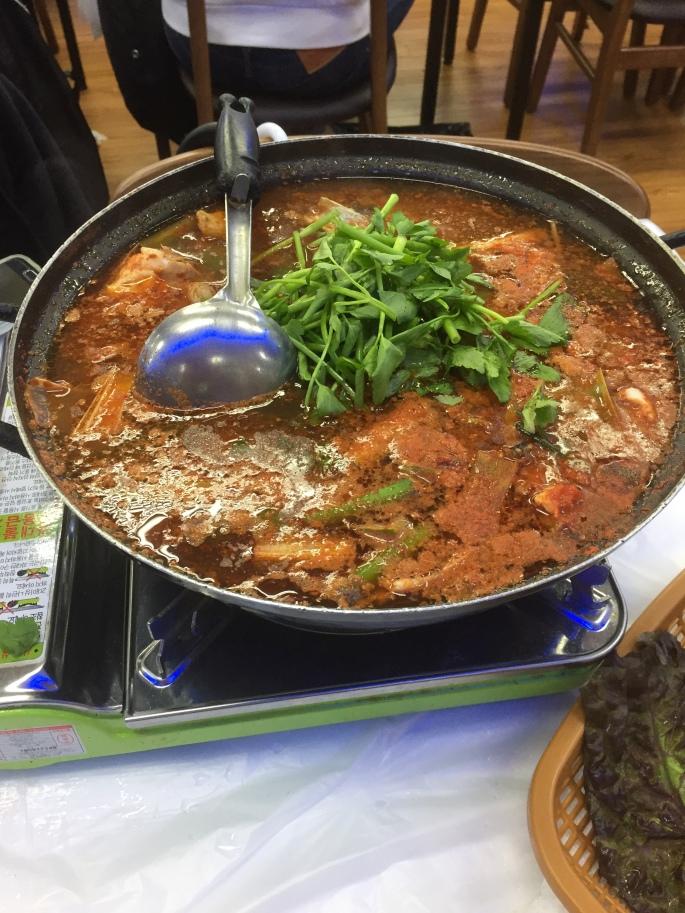 Spicy fish stew, food, Maeuntang, at Noryangjin Fish Market restaurant in Seoul