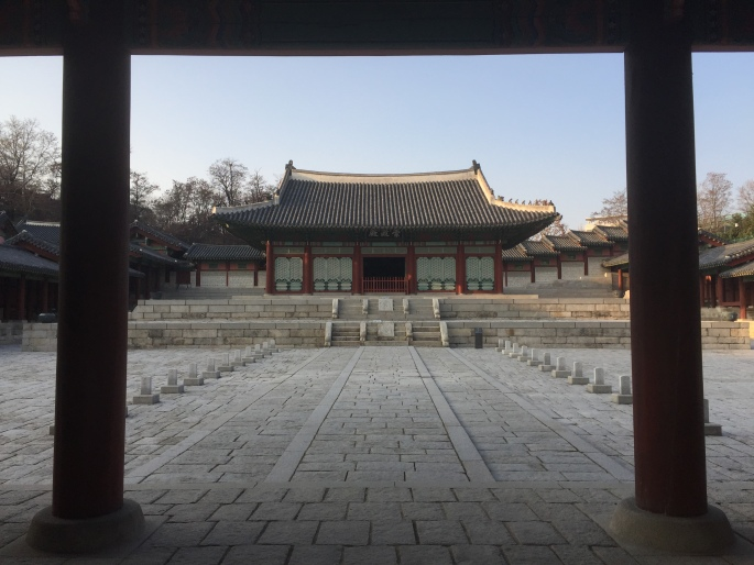 A photo of Gyeonghuigung in late fall, empty