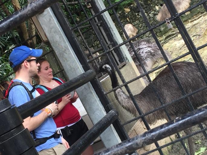 Danny and Cara reacting to an emu in KL Bird Park, Malaysia